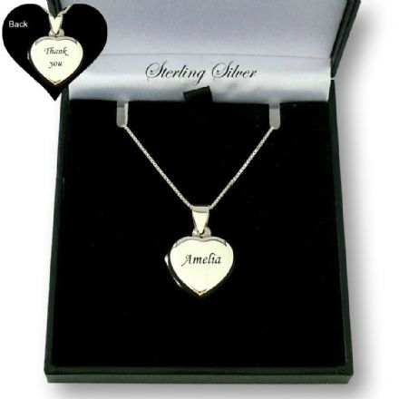 Silver Heart Locket with Engraving